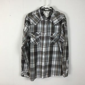 BKE Mens brown long sleeve button down shirt